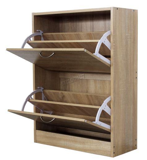 shoe storage unit foxhunter wooden shoe storage cabinet 2 drawer footwear 2198