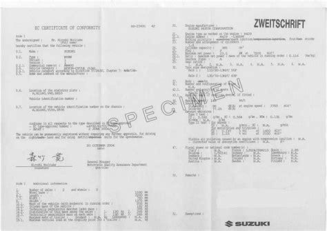 Suzuki Certification certificate of conformity eurococ