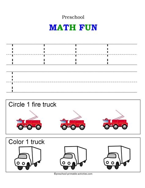 number worksheets trucks and transportation themes