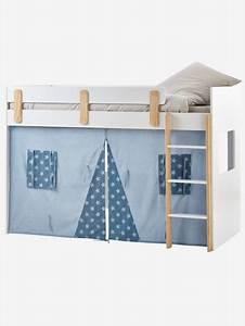 Lit Mezzanine Mi Hauteur : rideau cabane pour lit mezzanine mi hauteur everest bleu ~ Melissatoandfro.com Idées de Décoration