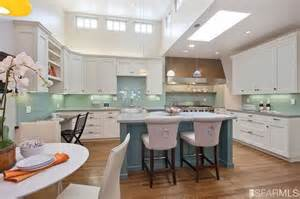 white cabinets teal island turquoise backsplash exactly
