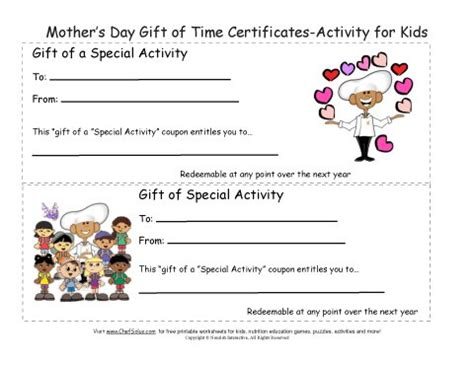 printable mothers day gift certificates colorful sheets