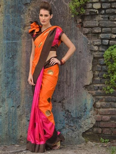 A blouse design that goes with absolutely any saree and the color you choose can either be a contrast or complement the saree. Silk Saree with Contrast Brown Textured Border | Saree, Soft silk sarees, Saree designs