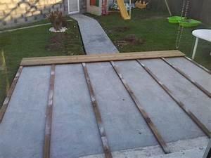 terrasse bois sur dalle beton nos conseils With pose terrasse bois sur beton