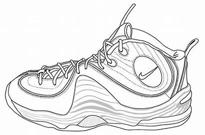 Nike Shoes Coloring Pages Lebron Shoe Drawing