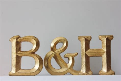 Letter K Home Decor : 2 Gold Letters And Ampersand Resin Vintage Style Gold Leaf