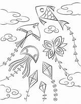 Kite Colouring Coloring Printable Clipart Pages Transparent Drawing Children Museprintables Webstockreview sketch template