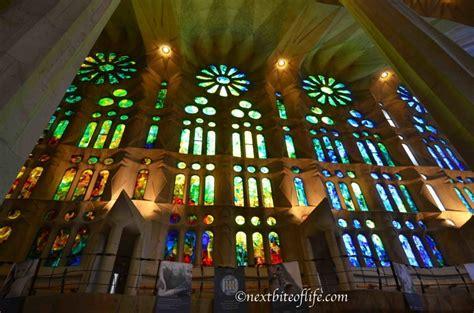 glass l inside la sagrada familia basilica in barcelona