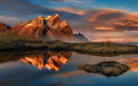 Reflection In Water Stokksnes Vestrahorn Mountain In East ...
