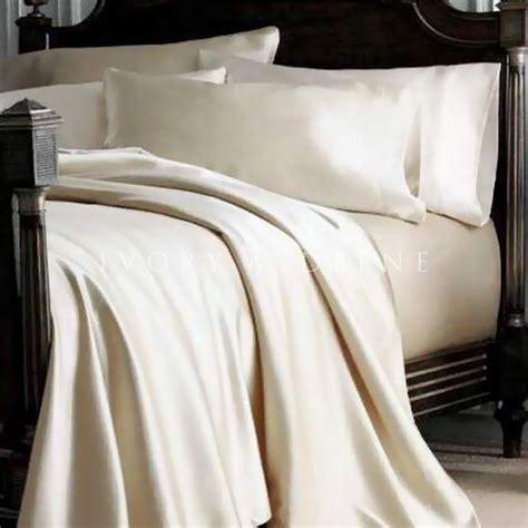 satin sheet set queen size soft ivory cream new silk feel