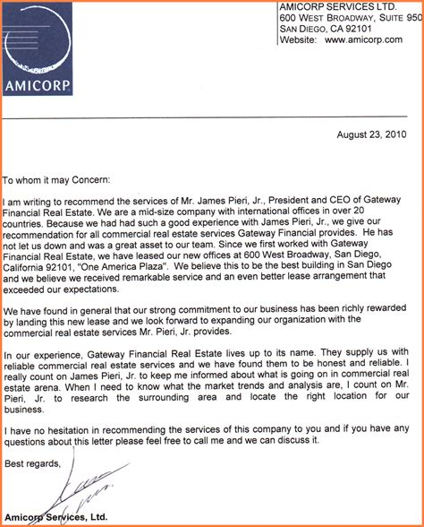 company letter  recommendation sample company