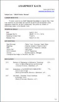 Best Resume For Sap Abap Fresher by Resume Sle Sap Abap Fresher Resume Formats