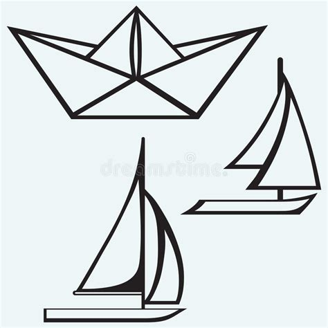 Origami Boat Outline by Origami Paper Ship And Sailboat Sailing Stock Vector