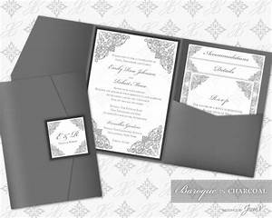 printable pocket folder invitation digital template With wedding invitations folders diy