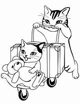 Coloring Travel Pages Going Cats Printable Cat Drawing Categories Books sketch template