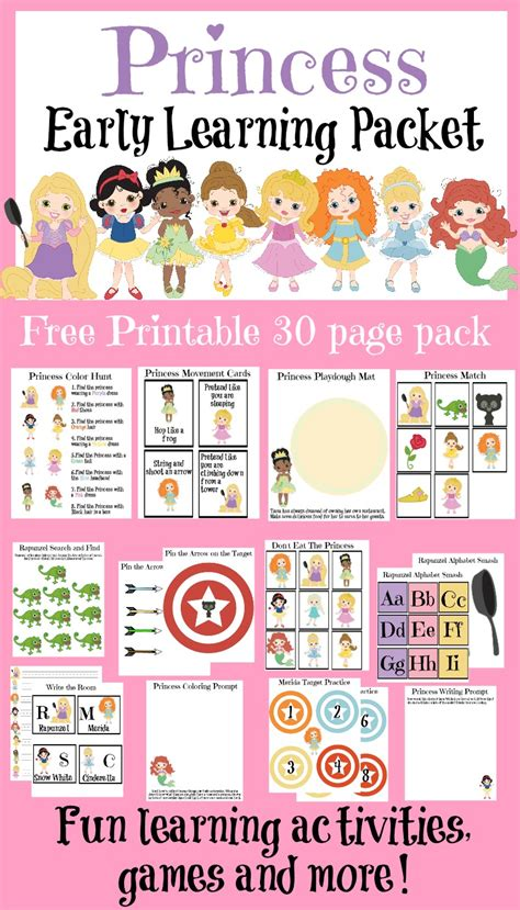 free learning free 30 page princess learning pack free homeschool deals