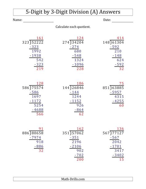 division worksheets grade   answers
