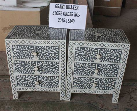 shop  dark grey bone inlay  drawer nightstand