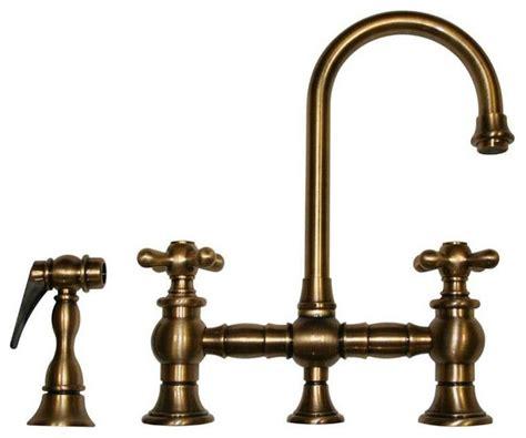 antique brass kitchen faucet whkbcr3 9106 abras antique brass bridge faucet rustic kitchen faucets by plfixtures