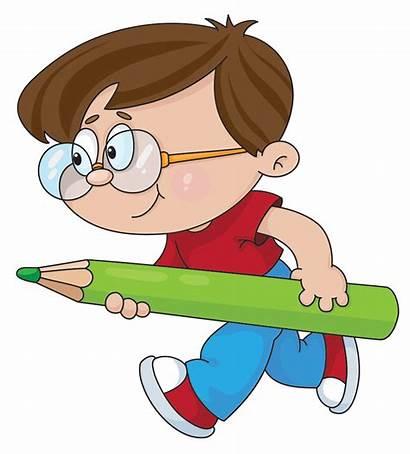 Cartoon Clipart Boy Pencil Child Education Senses