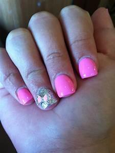 Pink Acrylic Nails • Sparkle Silver Nail • Pink Diamond ...