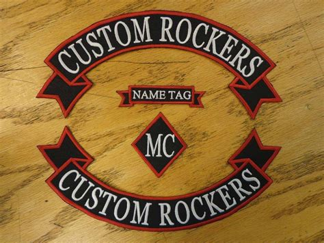 Custom Embroidered Rockers Ribbon, Name & Mc Set Patch