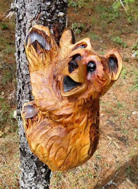 Climbing Bear Carving Chainsaw Carving by