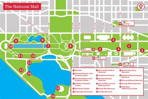 Dc Monuments Map Map Memorials And Monuments Washington Memorials Dc ...