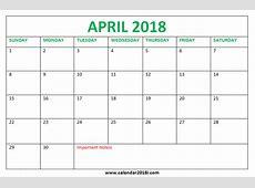 April 2018 Calendar Printable Template Free Download In