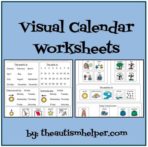 visual calendar worksheets for students with autism or special education by theautismhelper
