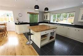 Open Plan Kitchen Designs Photo Of Open Plan Traditional Beige Black White Kitchen Kitchen Diner