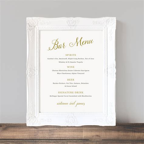 bar template printable wedding bar menu template wedding bar sign signature drinks cocktails custom