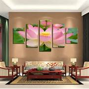 Living Room Canvas Art by 5 Panel Pink Lotus Modern Painting Canvas Wall Art Picture Home Decoration Li