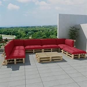 Salon Exterieur En Bois : salon d 39 ext rieur en palette de bois avec 13 coussins ~ Premium-room.com Idées de Décoration