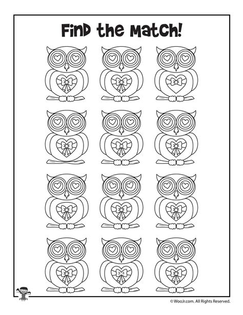 Cute Owl Find the Match Printable | Woo! Jr. Kids Activities