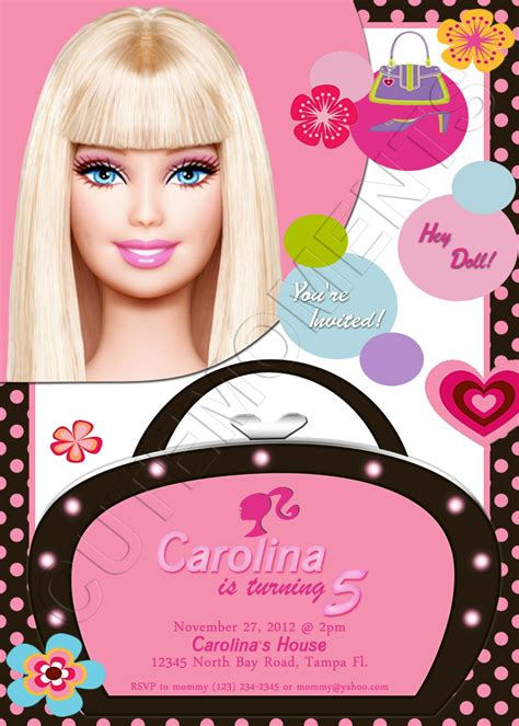 barbie personalized birthday party invitation