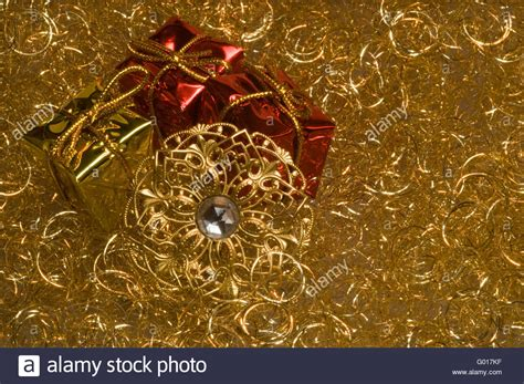 christmas decoration   gold angel hair stock photo