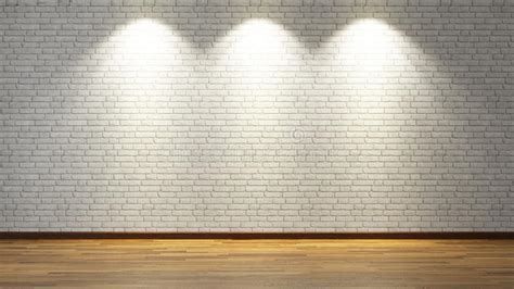 White Brick Wall With Three Spot Lights Stock Photo