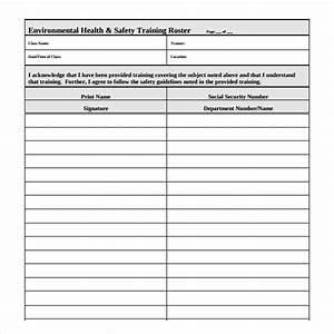 8 training roster templates sample templates for Safety training calendar template
