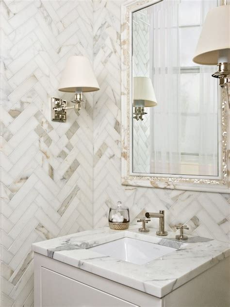 Marble Herringbone Backsplash Design Ideas