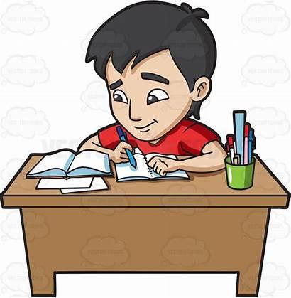 Homework Studying Clipart Students Student Exam Cartoon