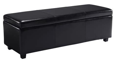 Black Leather Ottoman Storage by Simpli Home Avalon Rectangular Faux Leather