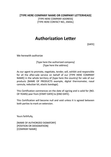 authorization distributor letter sample distributor
