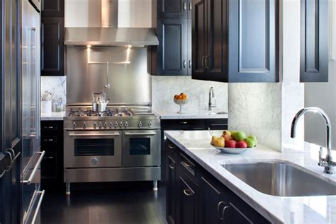 Black Cabinets With Marble Countertops by Black Kitchen Cabinets Contemporary Kitchen Thompson