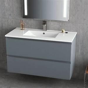 Meuble Vasque 100 Cm : meuble vasque c ramique 100 cm gris brillant inglet ~ Edinachiropracticcenter.com Idées de Décoration