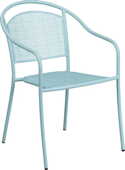 sky blue indoor outdoor steel patio arm chair with back