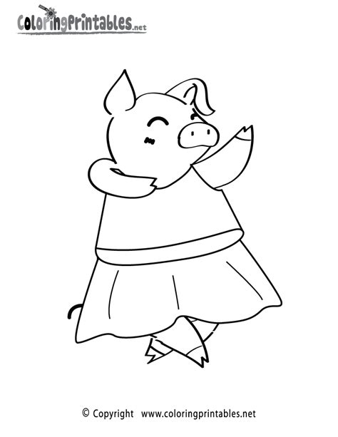 Dancing Pig Coloring Page A Free Animal Coloring Printable