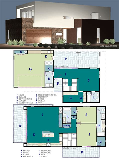 Zweifamilienhaus Grundriss Modern by Ultra Modern Live Work House Plan 61custom