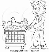 Shopping Clipart Pushing Cartoon Groceries Illustration Visekart Royalty Vector Happy Clipground sketch template