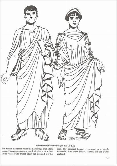 Roman Coloring Ancient Greek Clothing Toga Additional
